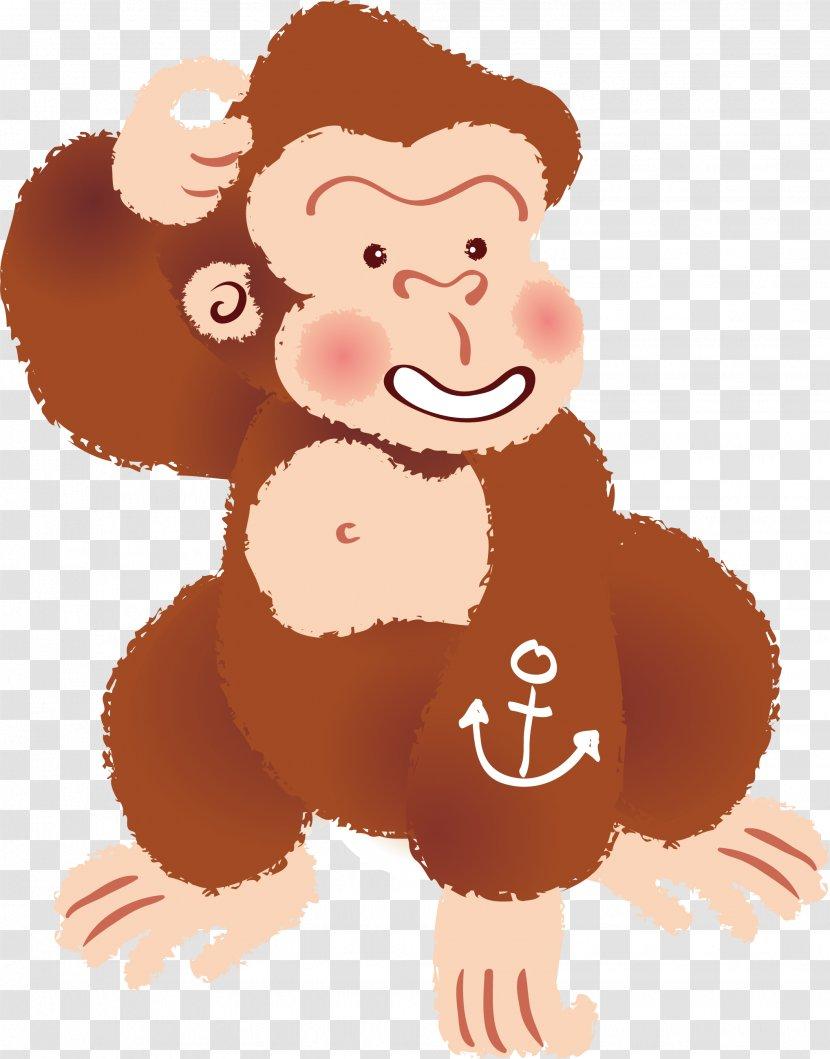 Monkey Orangutan Gorilla Clip Art - Cartoon Vector Transparent PNG
