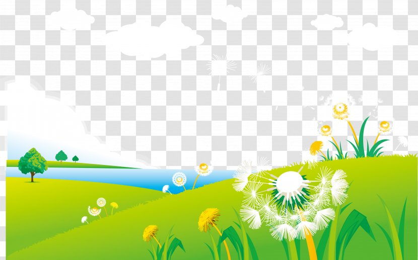 dandelion graphic design illustration grass vector spring grassland scenery transparent png vector spring grassland scenery