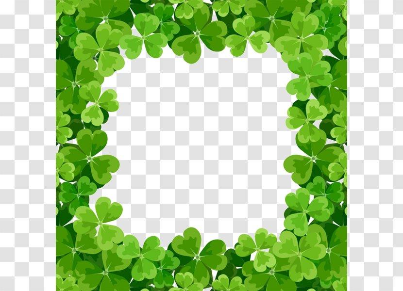 Shamrock Saint Patricks Day Picture Frame Clip Art - Green Clover Square Border Transparent PNG