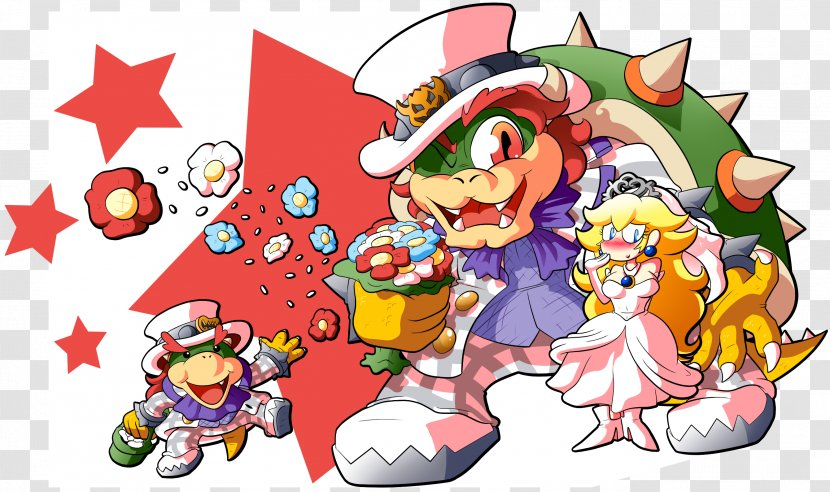 Super Mario Odyssey Bowser Princess Peach Drawing Fiction Just Married Transparent Png