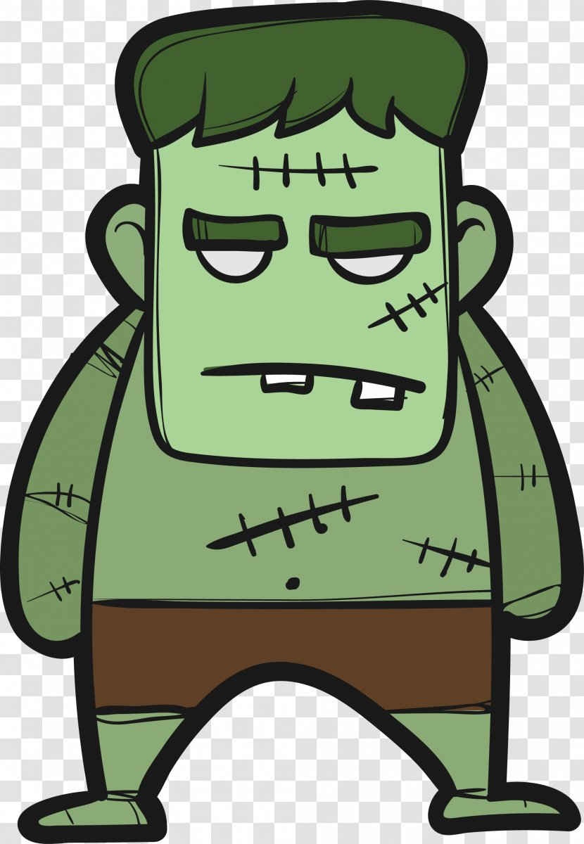 Little Monsters Halloween Clip Art Cartoon Green Giant Monster Transparent Png
