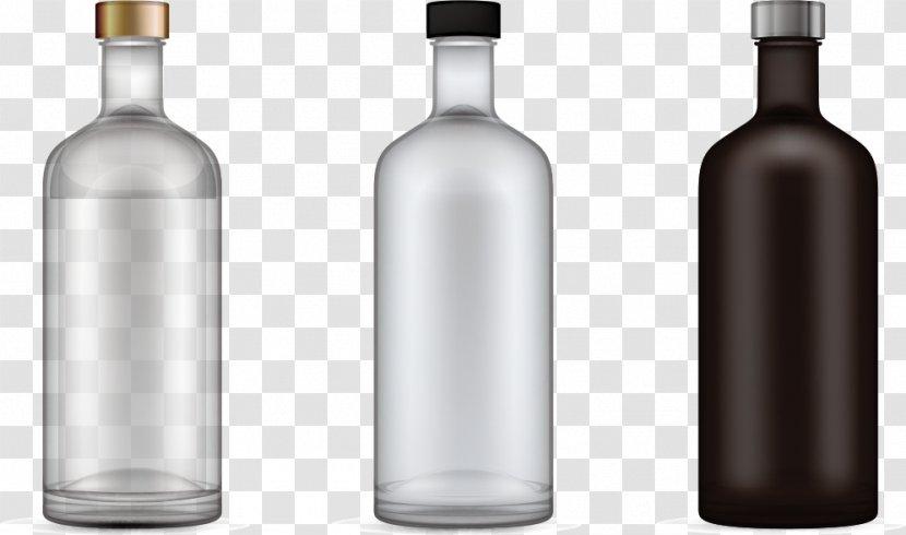 White Wine Glass Bottle - Three Empty Bottles Transparent PNG