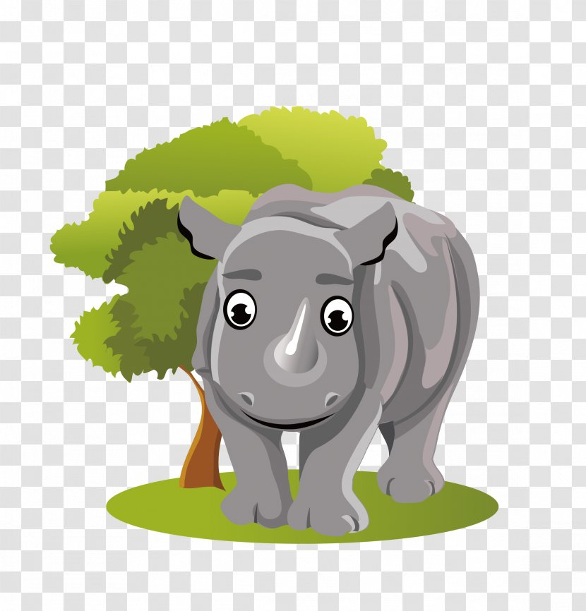 Rhinoceros Jungle Animals Animal Illustrations Giant Panda Cartoon - Angry Rhino Transparent PNG