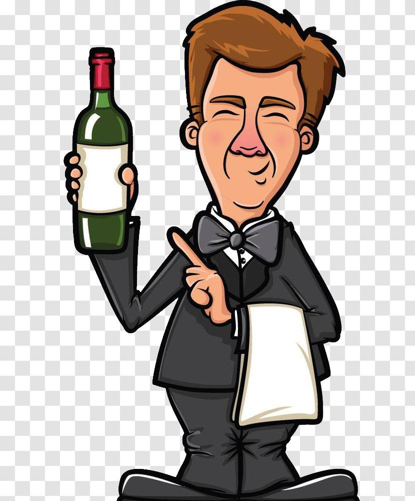 Bartender Waiter Clip Art Wine Bottle Cartoon Transparent Png
