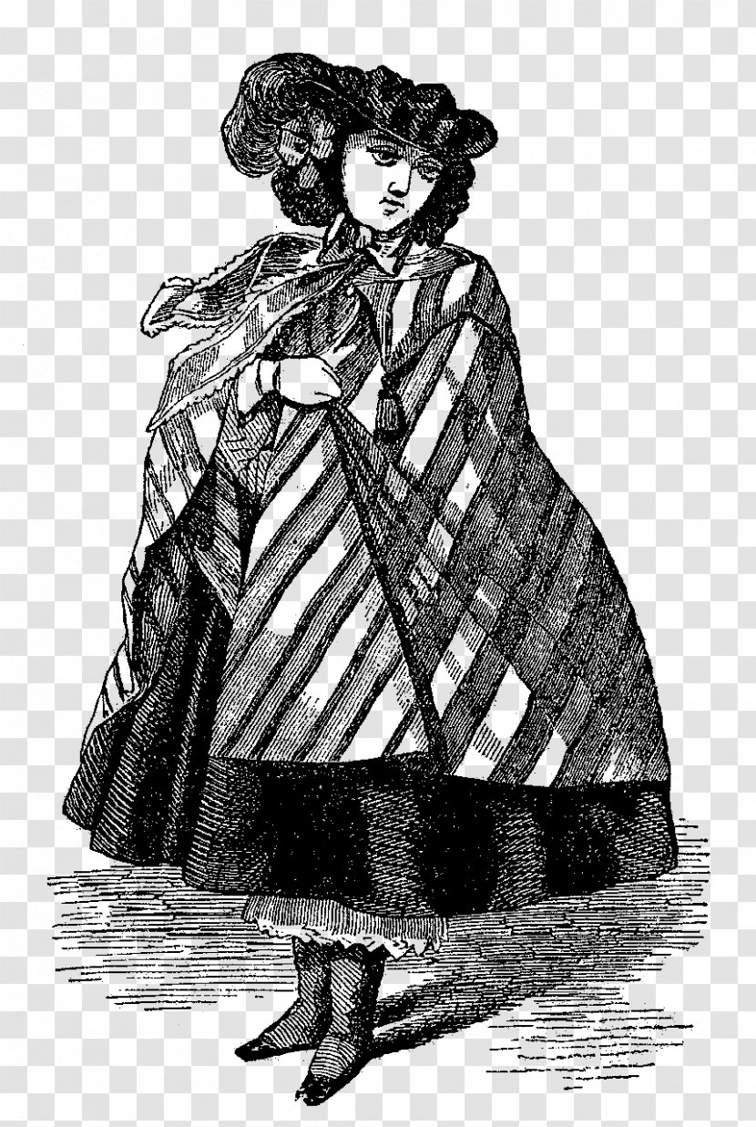 Black And White Drawing Clothing Sketch Figure Cloak Transparent Png