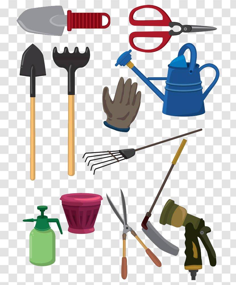 Garden Tool Gardening Cartoon Lawn Mower Shovel Hand Painted Tools Transparent Png