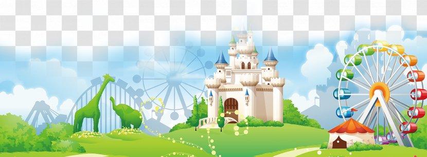 Amusement Park Cartoon Clip Art Illustrator Building Background Transparent Png