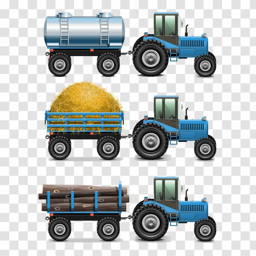 Tractor Semi-trailer Truck Agriculture - Hand-painted Cartoon Trailer Transparent PNG