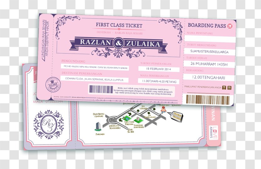 Wedding Invitation Flight Airline Ticket Press Pass Airplane - Marriage - KAD KAHWIN Transparent PNG