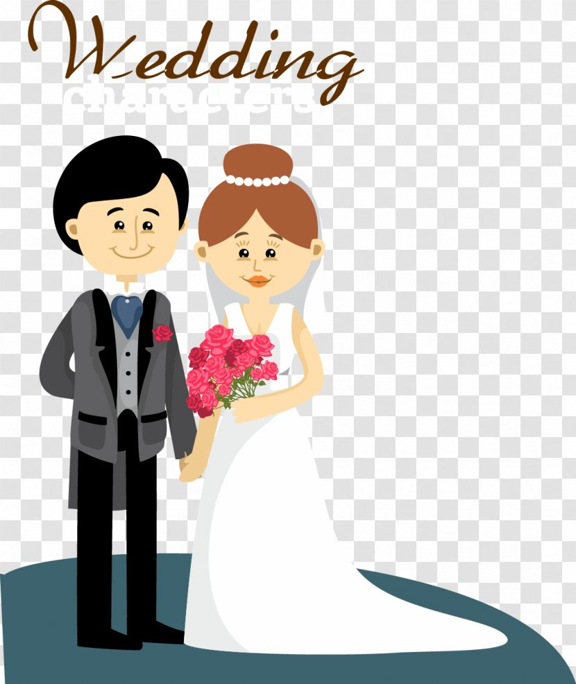 Wedding Invitation Bridegroom Marriage Cartoon Bride And Groom Transparent Png