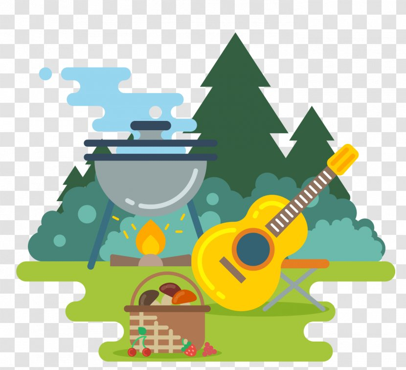 Royalty Free Camping Illustration Outdoor Recreation Vector Household Campfire Guitar Transparent Png