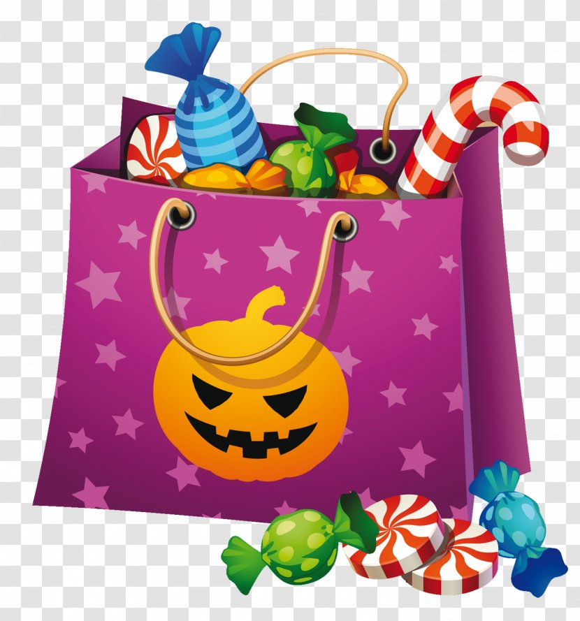 Halloween Candy Corn Clip Art - Bag Clipart Transparent PNG