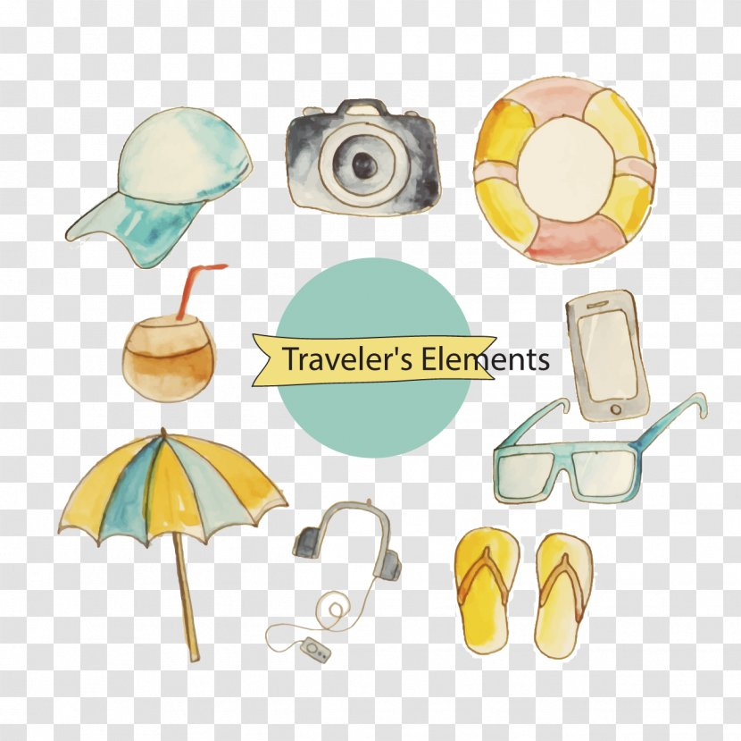 Watercolor Painting Euclidean Vector Clip Art - Yellow - Beach Resort Element Transparent PNG