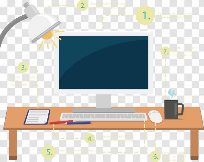 Computer Desk Graphic Design Drawing Vector Hand Painted Glass And Lamp Transparent Png