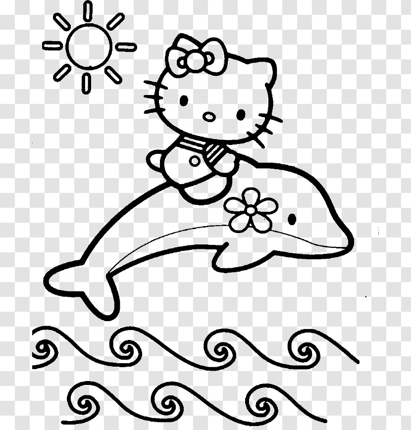 - Hello Kitty Kitten Coloring Book Adult - Cartoon - Pictures Of Cute  Dolphins Transparent PNG