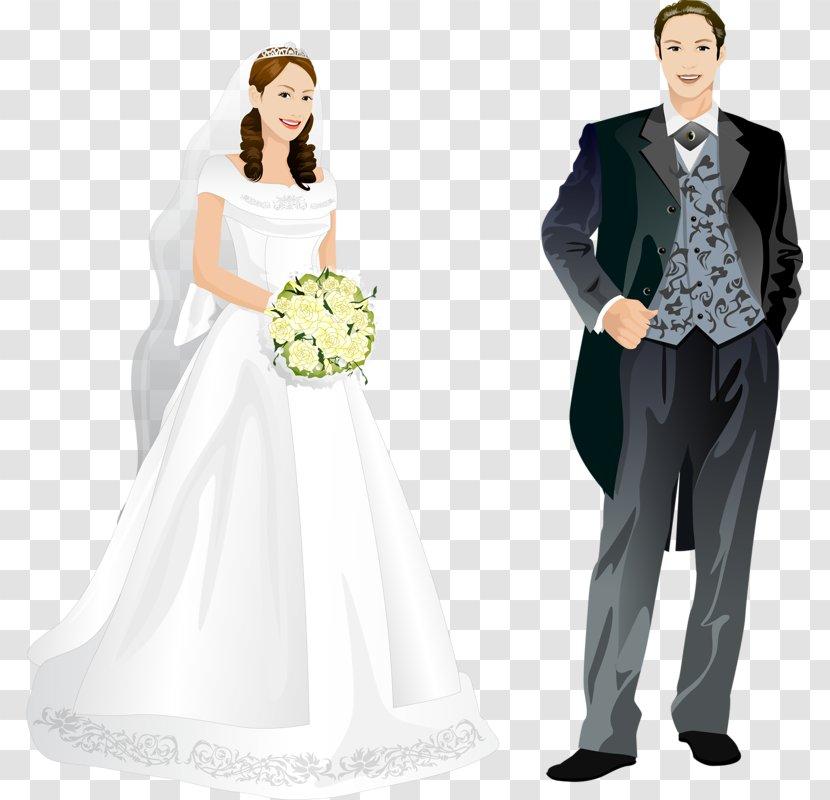 Bride And Groom Cartoon - Dress - Gesture Wedding Ceremony Supply Transparent PNG