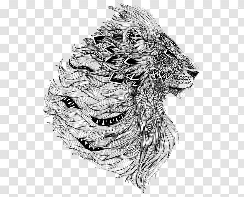 Lion Sleeve Tattoo Flash Transparent PNG