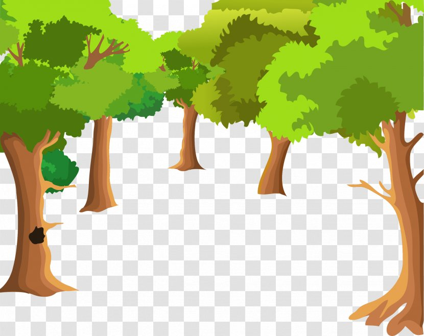 Landscape Painting Cartoon Drawing - Forest Tree Background Vector Transparent PNG