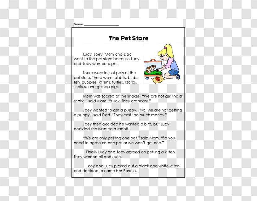 Paper Reading Comprehension Short Story Child - Drawing Transparent PNG