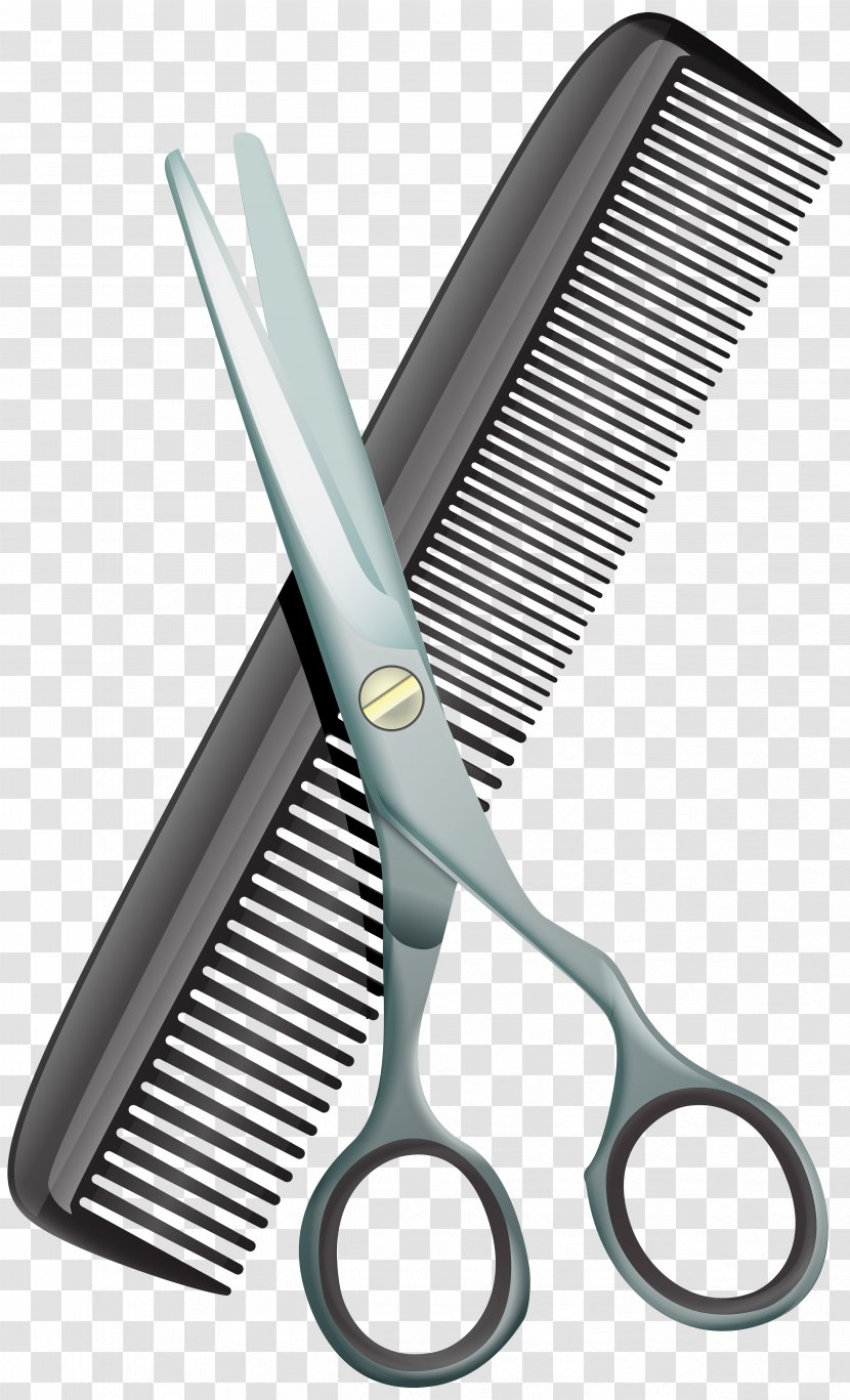 Comb Hair-cutting Shears Beauty Parlour Scissors Clip Art