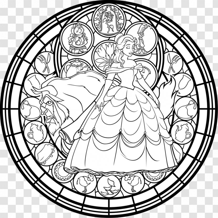 Window Stained Glass Coloring Book Belle Gaston Beauty And The Beast Transparent Png