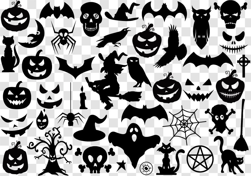 Shape Halloween - Black And White - Silhouette Elements Transparent PNG