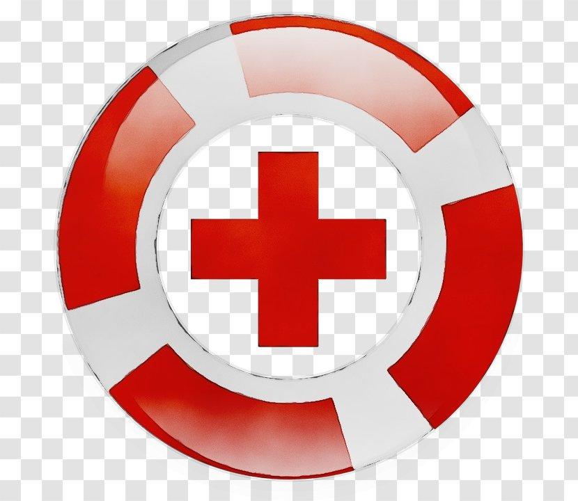 Red Cross Symbol American Circle - Watercolor Transparent PNG