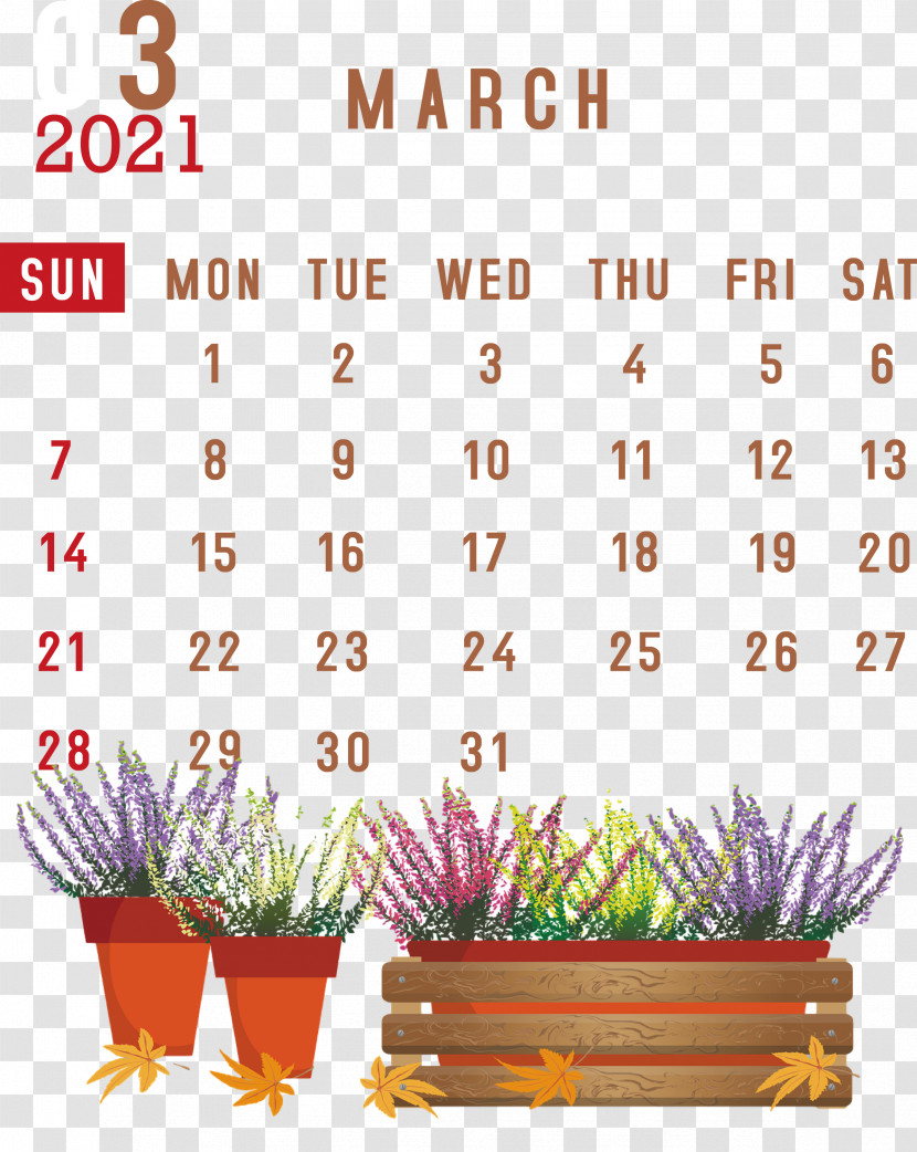 March 2021 Printable Calendar March 2021 Calendar 2021 Calendar Transparent PNG