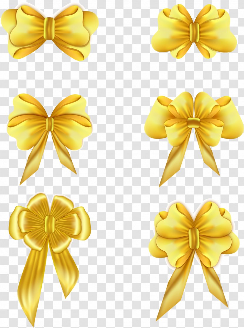 Gold Ribbon Adobe Illustrator - Pixel - Vector Bow Transparent PNG