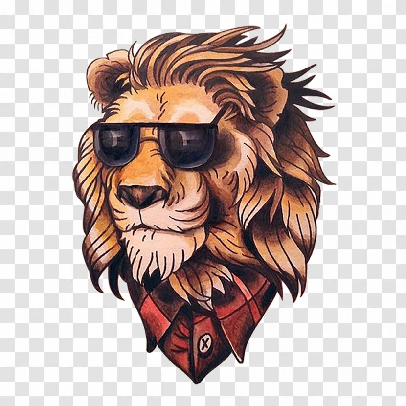Lion Old School (tattoo) Flash New - Art - Painted Head Transparent PNG