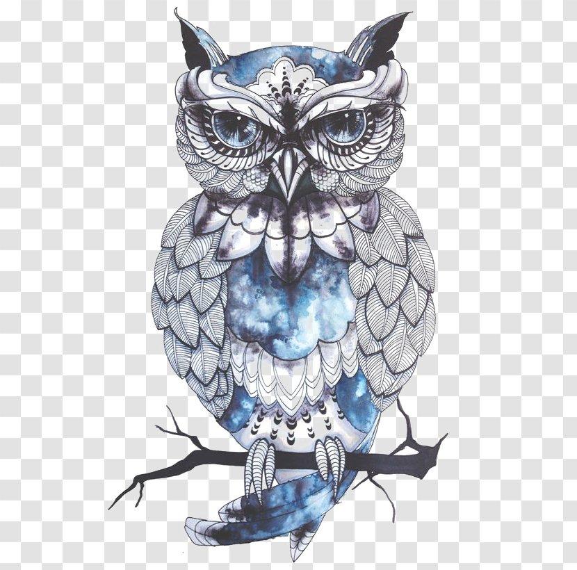 Little Owl Tattoo Flash Idea - Bird - Cartoon Transparent PNG