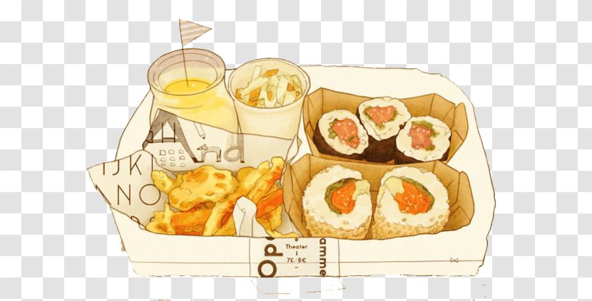 Bento Japanese Cuisine Sushi Drawing Food Tree Hand Painted Cartoon Roll Transparent Png