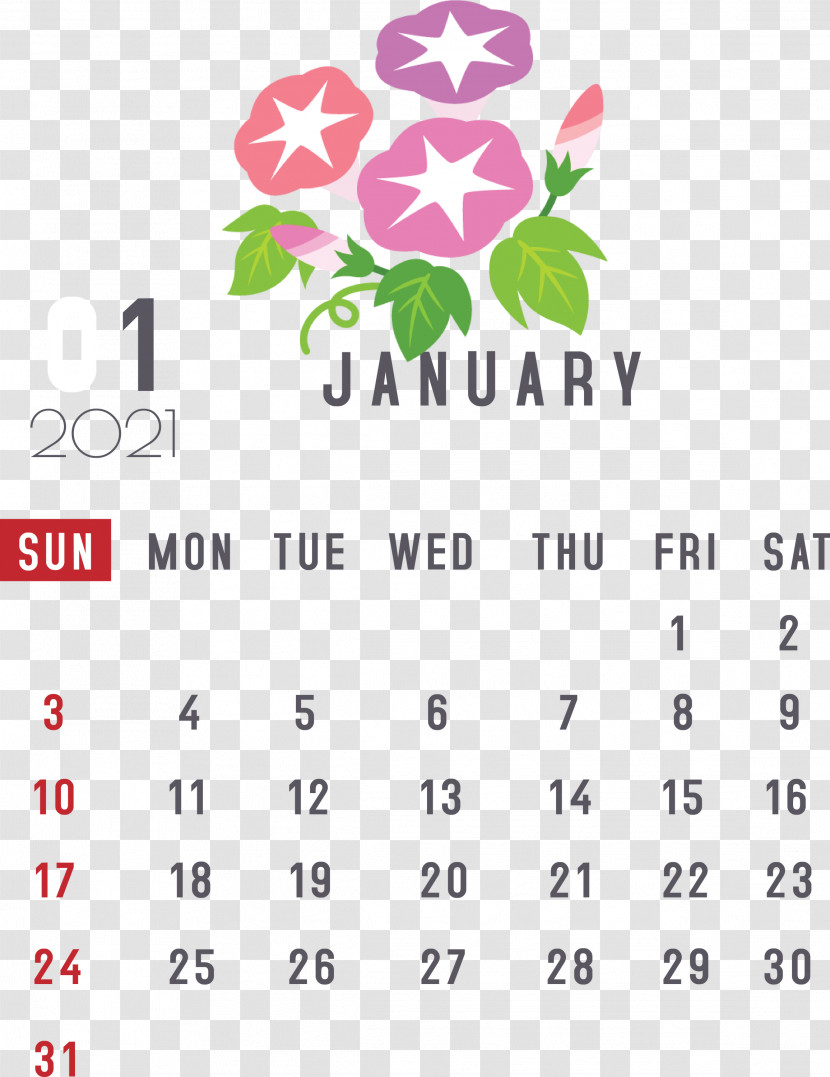 January 2021 Printable Calendar January Calendar Transparent PNG