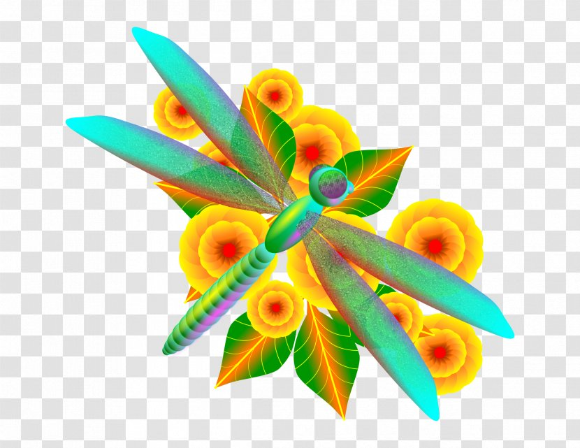 Dragonfly Flower Kilobyte Megabyte Clip Art Transparent PNG
