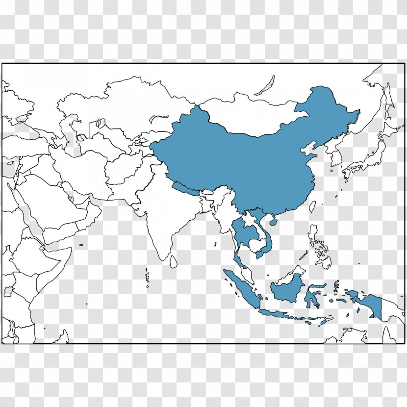 Southeast Asia China United States Blank Map Transparent Png