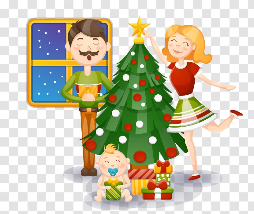 Christmas Tree Clip Art Animation Vector Cartoon Family Celebrate Transparent Png