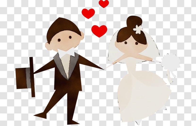Bride And Groom Cartoon - Art - Formal Wear Transparent PNG