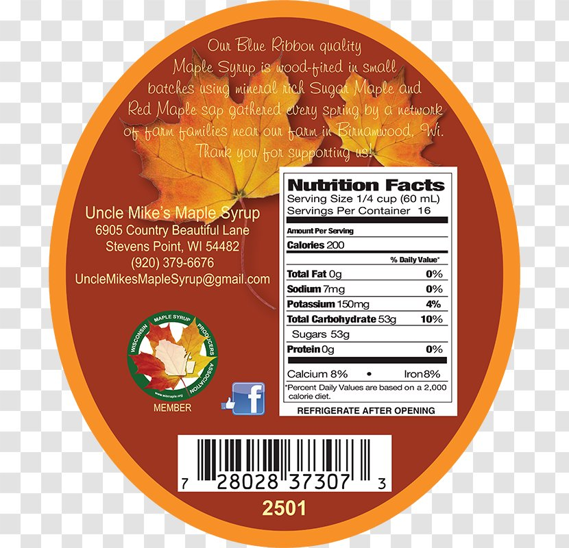 Pancake Maple Syrup Nutrition Facts Label Sugar Food Substitute Transparent Png