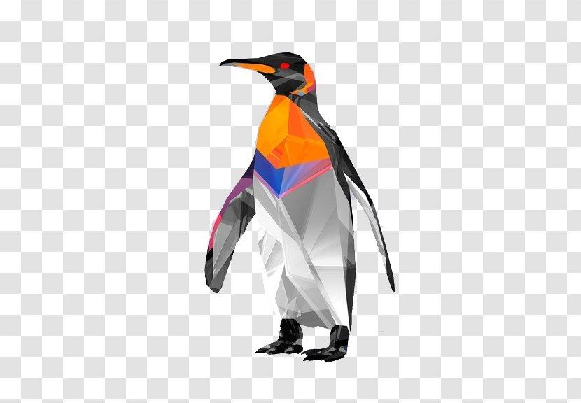 Penguin Bird Polygon Geometry Wallpaper - Color Transparent PNG
