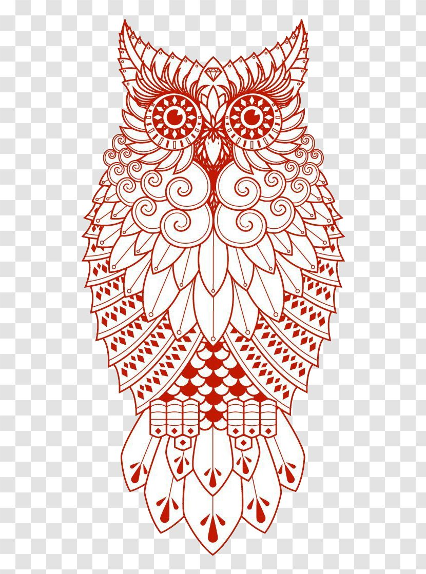 Owl Drawing Tattoo - Vertebrate - Red Transparent PNG