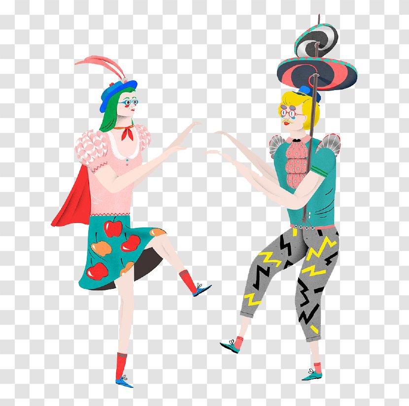 Japan Dance Jenkka Illustrator - Gif Art - Cartoon Dancing Woman Transparent PNG