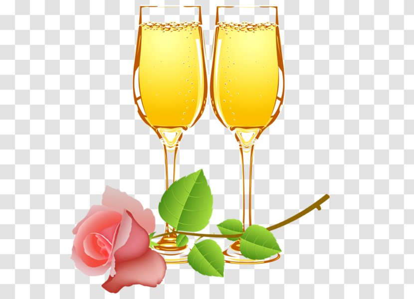 Champagne Glass Wine Cocktail - Stemware - Cartoon Rose Glasses Transparent PNG