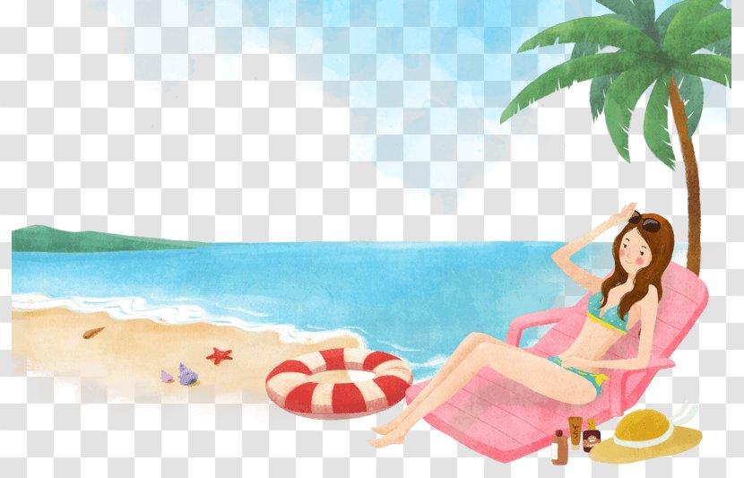Beach Illustration Sea Image Resort - Tropics - Auringonotto Design Element Transparent PNG