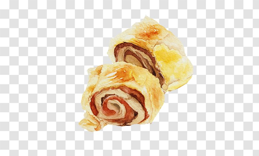 Anpan Danish Pastry Watercolor Painting Red Bean Paste Dish Bread Roll Hand Material Picture Transparent Png