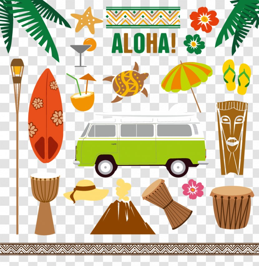 Cute HAWAII clipart, LUAU art, Travel, Tiki clipart, INSTANT (150362)    Illustrations   Design Bundles