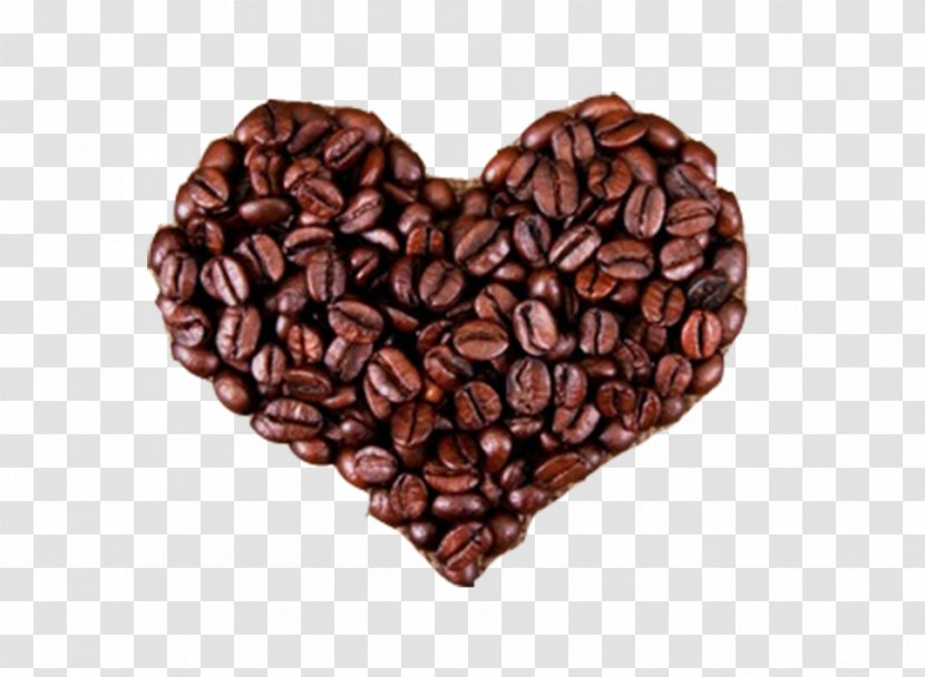 Coffee Bean Espresso Tea Cafe - Cup - Beans Heart-shaped Pattern Transparent PNG