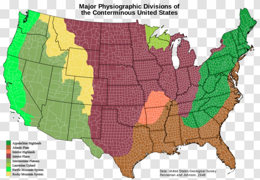 Interior Plains On Us Map United States Of America Physiographic Regions The World Interior