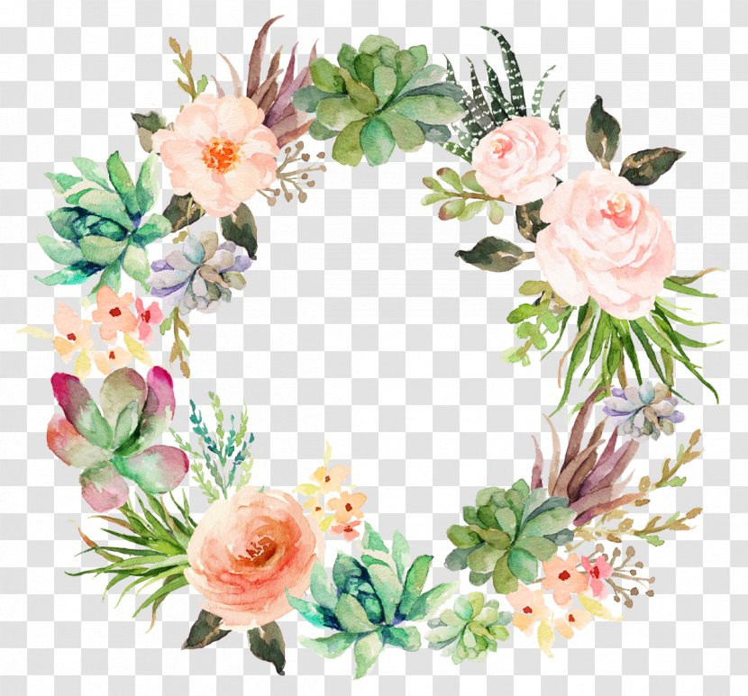 Wedding Invitation Paper Watercolor Painting Wreath Succulent Plant - Floristry - Delicate Floral Transparent PNG