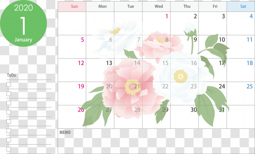 January 2020 Calendar January Calendar 2020 Calendar Transparent PNG