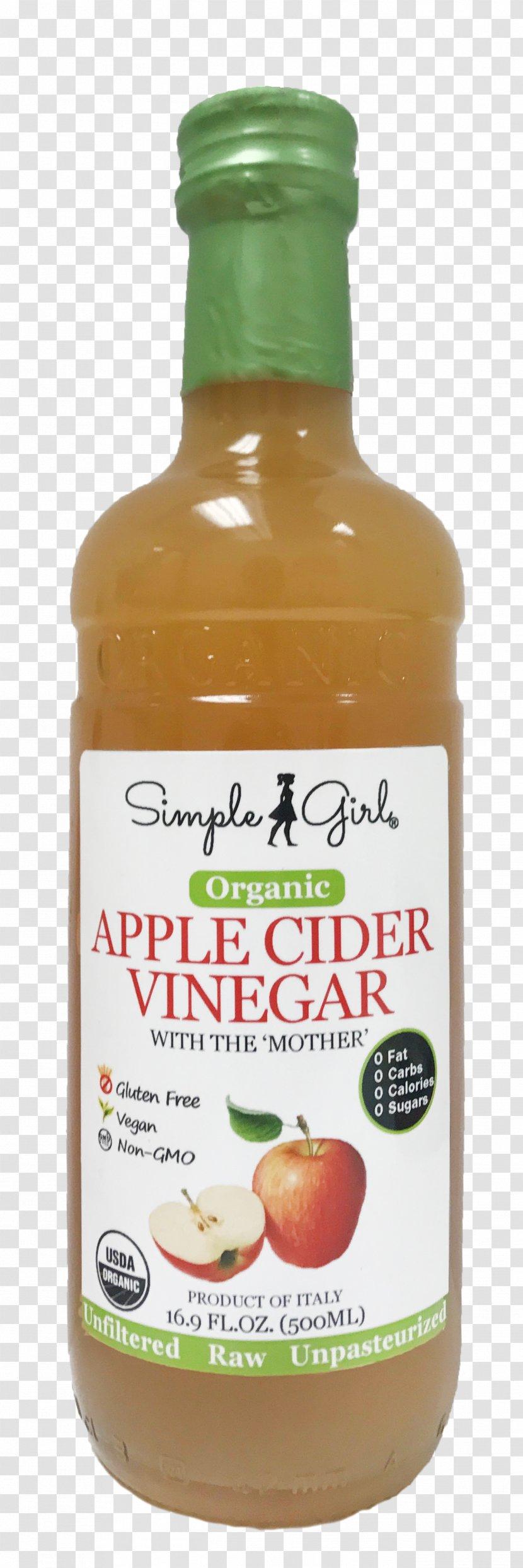 Simple Girl Organic Apple Cider Vinegar Natural Foods Product - Ingredient - Hot Holiday Transparent PNG